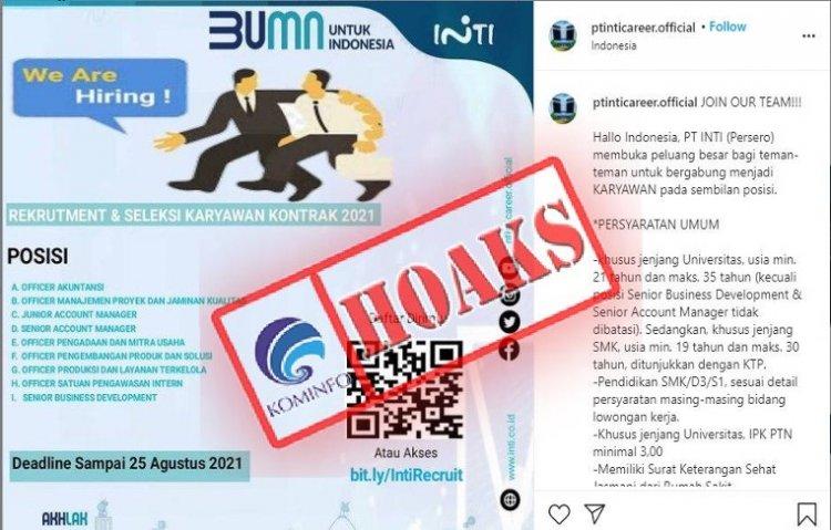 [HOAKS] Akun Instagram Mengatasnamakan PT INTI (Persero) dan Menawarkan Lowongan Pekerjaan